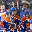 Edmonton Oilers Jordan Eberle (14), Taylor Hall (4) and Ryan Smyth (94) celebrate a goal against the Anaheim Ducks during second period NHL hockey action in Edmonton, Alberta, on Sunday April 6, 2014 The Associated Press