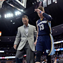Memphis Grizzlies forward Mike Miller (13) walks to the locker room after injuring his left ankle against the Denver Nuggets during the second quarter of an NBA basketball game on Monday, March 31, 2014, in Denver The Associated Press