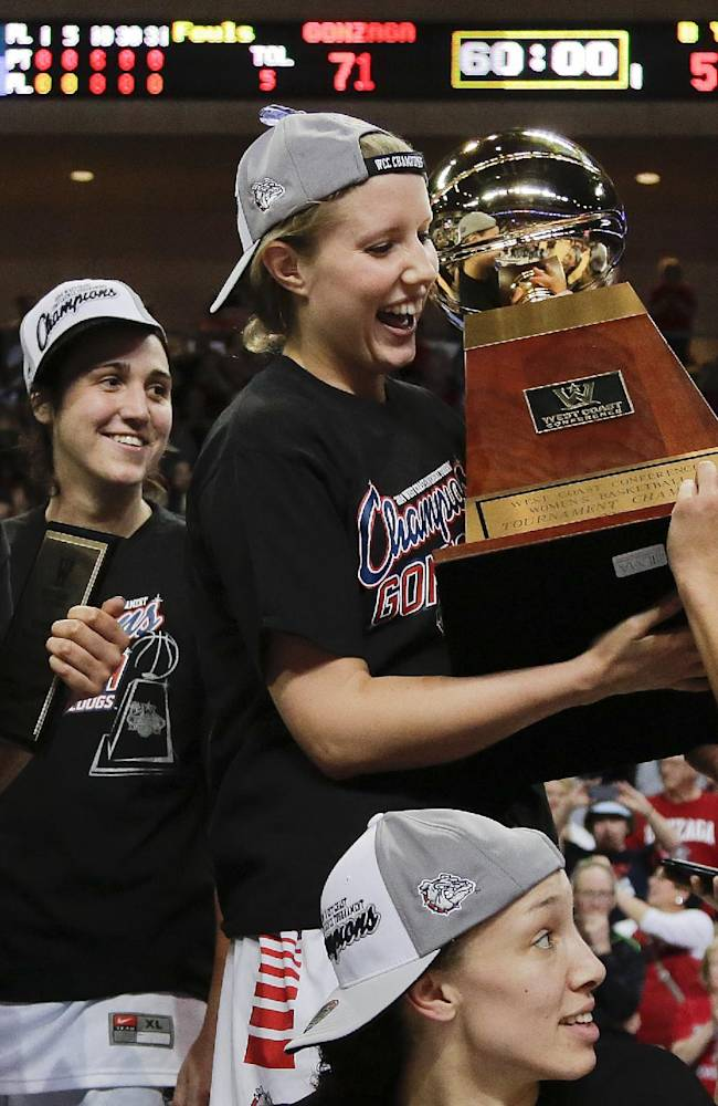 Gonzaga players celebrate with the championship trophy after beating BYU 71-57 in the NCAA West Coast Conference women's tournament championship college basketball game, Tuesday, March 11, 2014, in Las Vegas