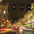 American flags and National Football League banners adorn London's Regent Street ahead of the Atlanta Falcons-Detroit Lions football game Thursday, Oct. 23, 2014. Fans are expected to rally at Trafalgar Square in the British capital a day before Sunday's