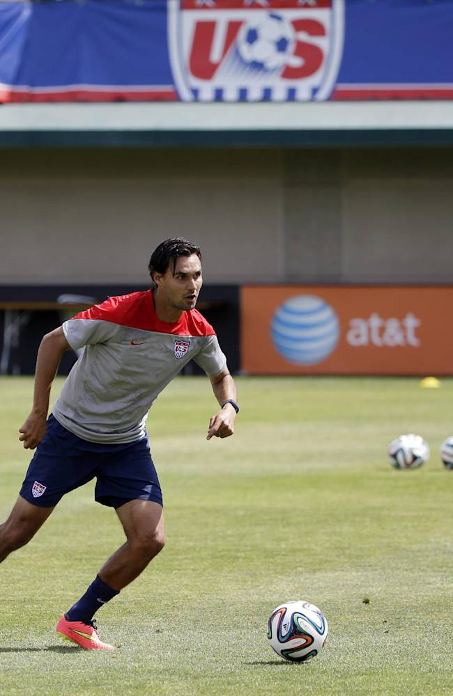 United States' Chris Wondolowski looks to pass during a training session in preparation for the World Cup soccer tournament on Friday, May 16, 2014, in Stanford, Calif