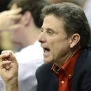 Louisville head coach Rick Pitino shouts instructions during action of Louisville's intersquad college basketball scrimmage Saturday, Oct. 27, 2012, in Louisville, Ky. (AP Photo/Timothy D. Easley)