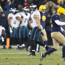 Green Bay Packers' Aaron Rodgers reacts after throwing a touchdown pass to Eddie Lacy during the second half of an NFL football game against the Philadelphia Eagles Sunday, Nov. 16, 2014, in Green Bay, Wis The Associated Press
