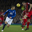 Queens Park Rangers' Richard Dunne, right, fights for the ball against Everton's Kevin Mirallas during the English Premier League soccer match between Everton and Queens Park Rangers at Goodison Park Stadium, Liverpool, England, Monday Dec. 15, 2014