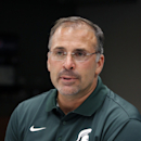 FILE - In this Aug. 4, 2014, file photo, Michigan State defensive coordinator Pat Narduzzi talks to the media during the team's NCAA college football media day in East Lansing, Mich. A person familiar with the decision told the Associated Press on Wednesday, Dec. 24, 2014, that Narduzzi has reached an agreement with the Panthers to replace Paul Chryst. The person spoke on condition of anonymity because the school had not yet made an announcement. A press conference is scheduled for Friday. (AP Photo/Al Goldis, File)