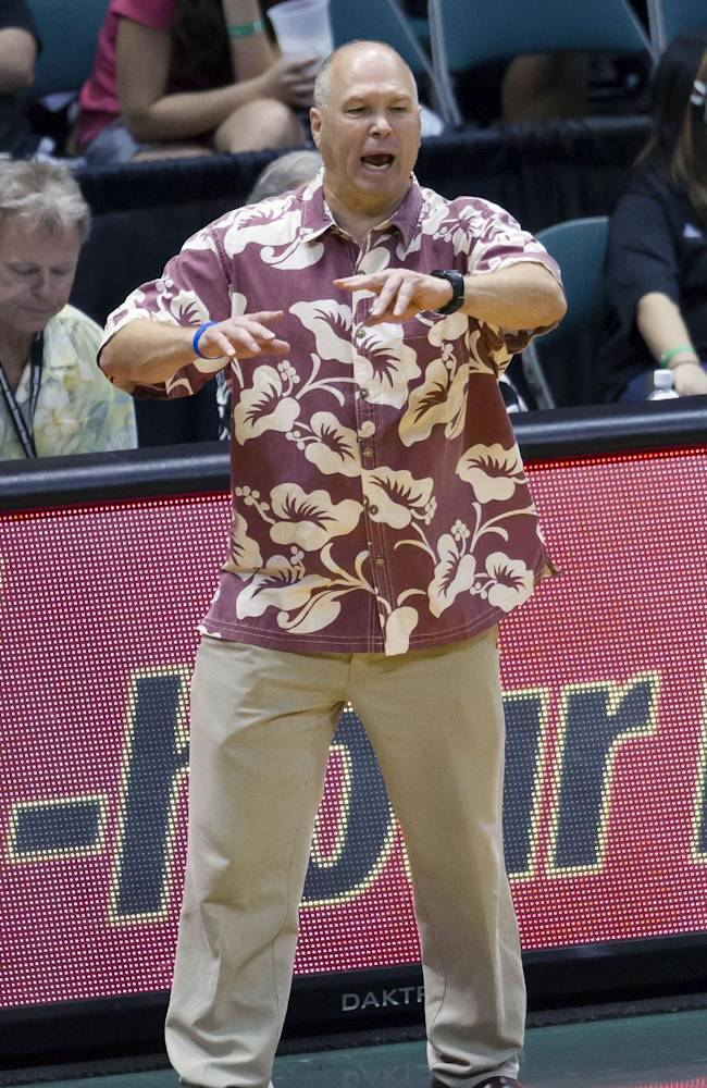 St. Mary's head coach Randy Bennett shouts instructions to his team in the second half of an NCAA college basketball game at the Diamond Head Classic Sunday, Dec. 22, 2013, in Honolulu. South Carolina beat Saint Mary's 78-71