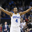 UCLA's Norman Powell celebrates his team's 69-59 victory over Utah in an NCAA college basketball game Thursday, Jan. 29, 2015, in Los Angeles. (AP Photo/Danny Moloshok)
