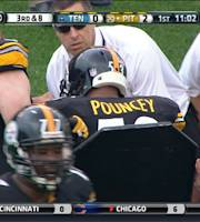 Pittsburgh Steelers center Maurkice Pouncey (53), center, is helped from the field after being injured in the first quarter an NFL football game against the Tennessee Titans, Sunday, Sept. 8, 2013, in Pittsburgh. (AP Photo/Don Wright)