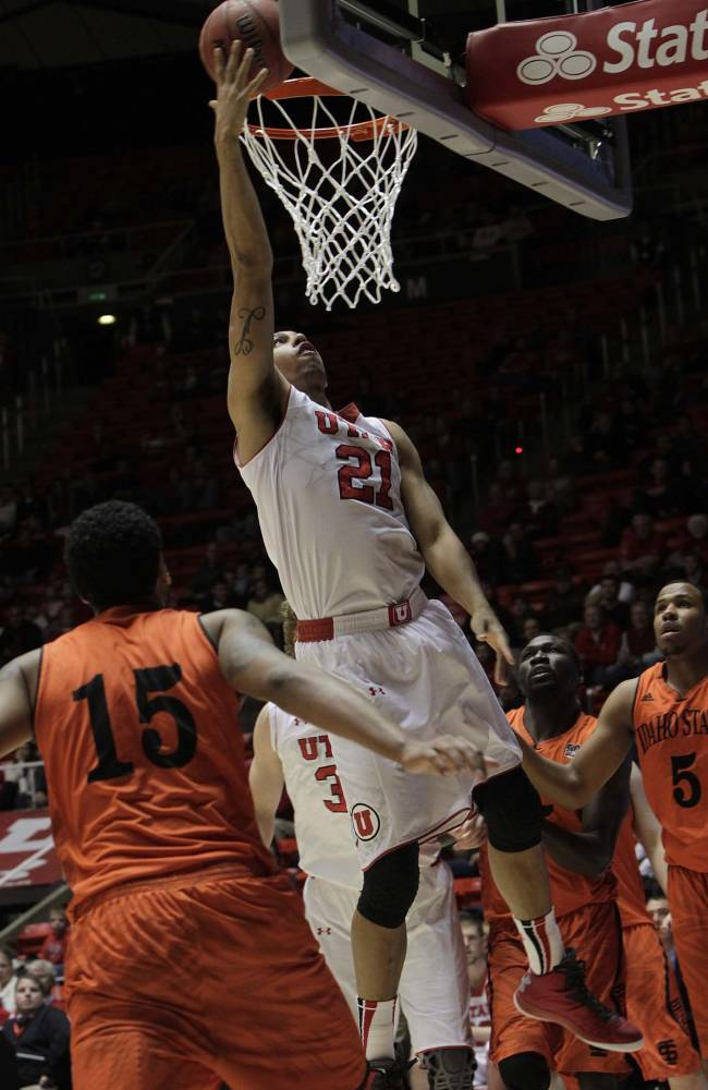 Utah Utes forward Jordan Loveridge (21) for two. University of Utah defeated Idaho State Bengals74-66, Dec. 10, 2013 at the Huntsman Center