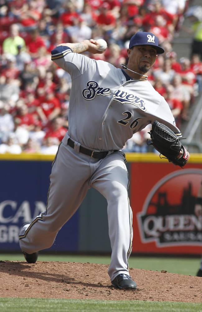 Milwaukee Brewers starting pitcher Kyle Lohse throws against the Cincinnati Reds during the first inning of a baseball game, Sunday, May 4, 2014, in Cincinnati