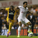 Tottenham's Mousa Dembele, right, vies for the ball with AEL Limassol's Christian Eriksen during the second leg Europa League qualifying soccer match between Tottenham Hotspur and AEL Limassol at White Hart Lane stadium in London Thursday, Aug. 28, 2014