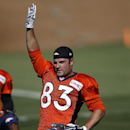 Denver Broncos' Wes Welker stretches during the first day of NFL football training camp on Thursday, July 24, 2014, in Englewood, Colo The Associated Press
