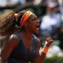 Serena Williams, of the U.S, reacts as she plays Roberta Vinci, of Italy during their fourth round match of the French Open tennis tournament at the Roland Garros stadium Sunday, June 2, 2013 in Paris. Williams won 6-1, 6-3. (AP Photo/Petr David Josek)