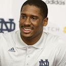 Notre Dame quarterback Everett Golson speaks to the media after the opening day of spring football practice on Monday, March 3, 2014, in South Bend, Ind. (AP Photo/South Bend Tribune, James Brosher)