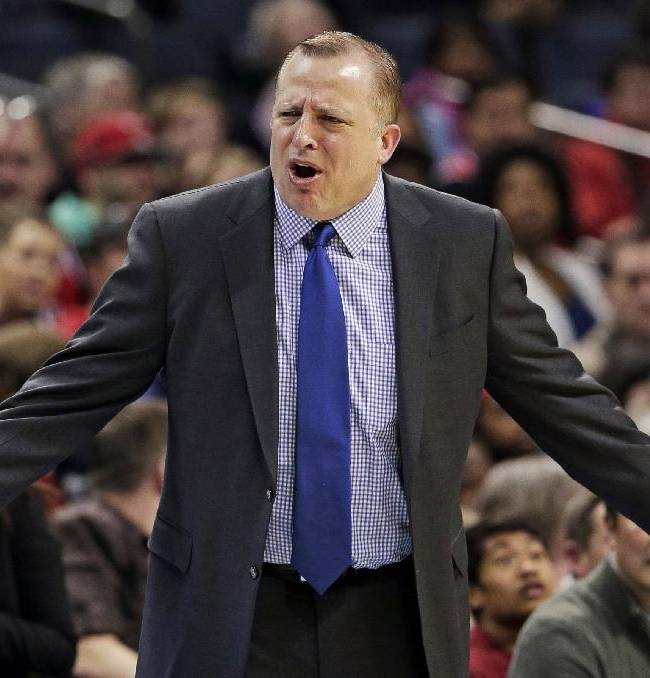 Chicago Bulls head coach Tom Thibodeau argues a call during the first half of an NBA basketball game against the Charlotte Bobcats in Charlotte, N.C., Saturday, Jan. 25, 2014