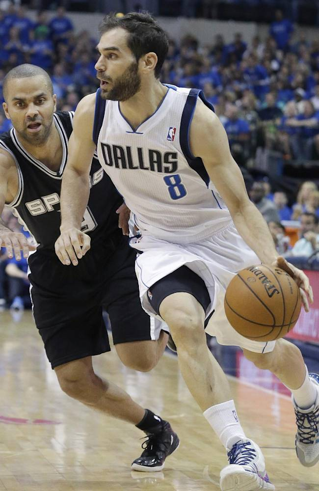 Dallas Mavericks guard Jose Calderon (8) of Spain, drives against San Antonio Spurs guard Tony Parker (9) of France, during the first half in Game 3 in the first round of the NBA basketball playoffs in Dallas, Saturday, April 26, 2014