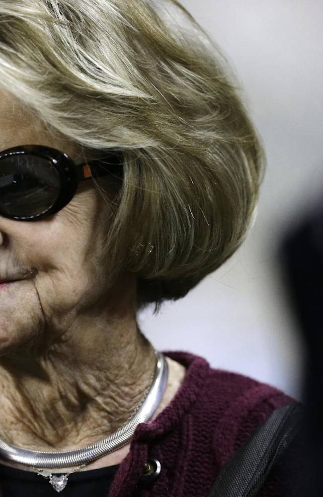 This Dec. 22, 2013 file photo shows Martha Ford, wife of Detroit Lions owner William Clay Ford,  on the sidelines before an NFL football game between the Lions and New York Giants in Detroit. The Lions announced Monday, March 10, 2014, that Ford's interest in the team passes to Martha Ford, pursuant to