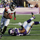 Atlanta Falcons wide receiver Devin Hester (17) runs from Minnesota Vikings defensive end Everson Griffen (97) during 36-yard touchdown reception in the second half of an NFL football game, Sunday, Sept. 28, 2014, in Minneapolis. The Associated Press