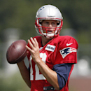 File-This Aug. 19, 2013, file photo shows New England Patriots quarterback Tom Brady looking to pass during NFL football practice in Foxborough, Mass. Imagine how great Brady would be if he had a consistent deep threat. In 13 seasons as a starter, he's ha
