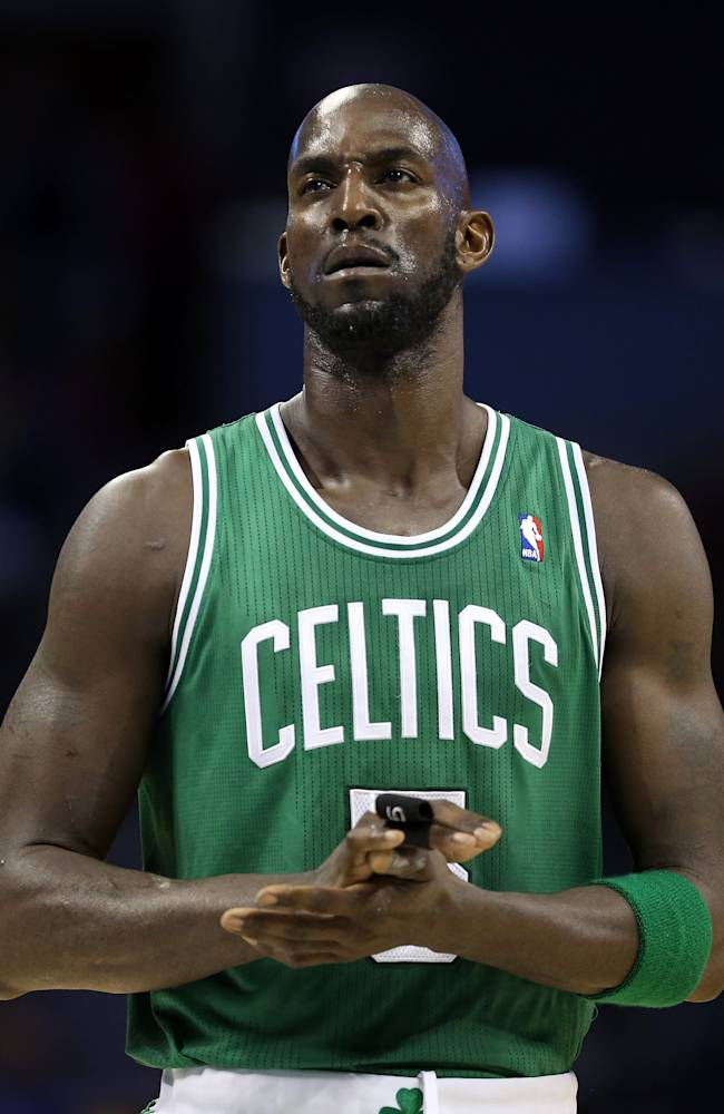Kevin Garnett #5 of the Boston Celtics during their game at Time Warner Cable Arena on February 11, 2013 in Charlotte, North Carolina. NOTE TO USER: User expressly acknowledges and agrees that, by downloading and or using this photograph, User is consenting to the terms and conditions of the Getty Images License Agreement. (Photo by Streeter Lecka/Getty Images)