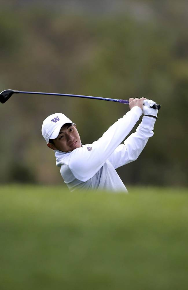 Taiwan's Pan Cheng-tsung plays in the first day of the Asia-Pacific Amateur Championship golf tournament at Nanshan International Golf Club in Longkou city in east China's Shandong province Thursday, Oct. 24, 2013. (AP Photo)