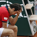 Germany's Tommy Haas holds his head as a right shoulder injury forces him to retire from the first round match of the French Open tennis tournament against Estonia's Jurgen Zopp at the R