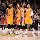 LOS ANGELES, CA - JANUARY 29: The Los Angeles Lakers celebrates during a game against the Chicago Bulls at STAPLES Center on January 29, 2015 in Los Angeles, California. (Photo by Andrew D. Bernstein/NBAE via Getty Images)