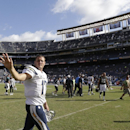 San Diego Chargers quarterback Philip Rivers waves as he leaves the field after the Chargers defeated the Jacksonville Jaguars in an NFL football game Sunday, Sept. 28, 2014, in San Diego. The Chargers won, 33-14. The Associated Press