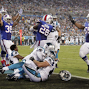 Buffalo Bills players celebrate Anthony Dixon's (26) touchdown against the Carolina Panthers during the first half of a preseason NFL football game in Charlotte, N.C., Friday, Aug. 8, 2014 The Associated Press
