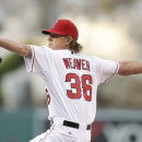 Los Angeles Angels starting pitcher Jered Weaver throws against the New York Mets during the first inning of a baseball game on Saturday, April 12, 2014, in Anaheim, Calif The Associated Press