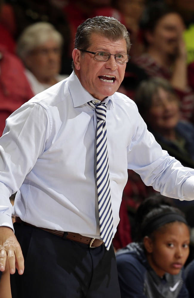 Connecticut head coach Geno Auriemma argues a call during the first half of an NCAA college basketball game against Stanford on Monday, Nov. 17, 2014, in Stanford, Calif. (AP Photo/Marcio Jose Sanchez)