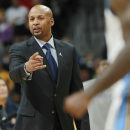 Denver Nuggets head coach Brian Shaw argues with officials for a foul to be called against the Los Angeles Lakers in the fourth quarter of the Nuggets' 134-126 victory in an NBA basketball game in Denver on Friday, March 7, 2014 The Associated Press