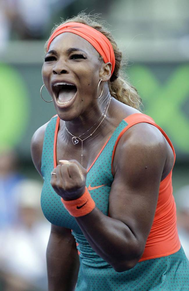 Serena Williams, of the United States, reacts to a play against  Yaroslava Shvedova, of Kazakhstan, during the Sony Open tennis tournament, Thursday, March 20, 2014, in Key Biscayne, Fla. Williams won 7-6 (7), 6-2