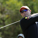 Jarrod Lyle of Australia tees off during the final round of the Australian Masters golf tournament at Royal Melbourne Golf Club in Melbourne, Australia, Sunday, Nov. 17, 2013. (AP Photo/Andy Brownbill)