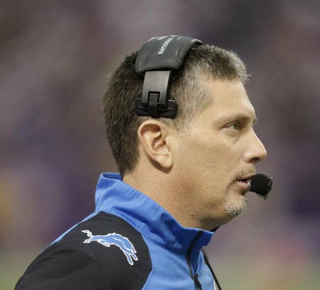 In this Dec. 29, 2013 file photo, Detroit Lions head coach Jim Schwartz stands on the sidelines during the second half of an NFL football game against the Minnesota Vikings in Minneapolis. Schwartz was fired from the Detroit Lions on Dec. 30, a day after the Lions missed the playoffs with a 7-9 record. The Buffalo Bills announced Friday, Jan. 24, 2014, that they reached a deal with Schwartz as defensive coordinator