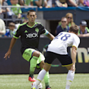 Seattle Sounders' Clint Dempsey, left, changes direction as Tottenham Hotspur's Tommy Carroll defends during the first half of a friendly soccer match in Seattle, Saturday, July 19, 2014. The match ended in a 3-3 draw