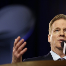 NFL Commissioner Roger Goodell participates in a news conference for NFL Super Bowl XLIX football game Friday, Jan. 30, 2015, in Phoenix. (AP Photo/Matt Slocum)