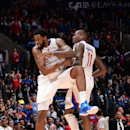LOS ANGELES, CA - JANUARY 26: DeAndre Jordan #6 and Jamal Crawford #11 of the Los Angeles Clippers celebrate during the game against the Denver Nuggets on January 26, 2015 at STAPLES Center in Los Angeles, California. (Photo by Juan Ocampo/NBAE via Getty Images)