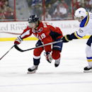 Washington Capitals center Nicklas Backstrom (19), from Sweden, skates with the puck as St. Louis Blues left wing Alexander Steen (20) defends in the first period of an NHL hockey game, Sunday, Feb. 1, 2015, in Washington The Associated Press