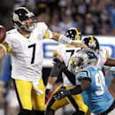 Pittsburgh Steelers' Ben Roethlisberger (7) prepares to pass under pressure from Carolina Panthers' Kony Ealy (94) during the second half of an NFL football game in Charlotte, N.C., Sunday, Sept. 21, 2014 The Associated Press
