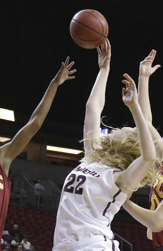 Southern California's Desiree Bradley (3) and Kate Oliver, right, vie with Arizona State's Quinn Dornstauder (22) for the ball during the first half of an NCAA college basketball game in the second round of the Pac-12 women's tournament, Friday, March 7, 2014, in Seattle
