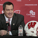 FILE - In this Dec. 17, 2014, file phtoo, Paul Chryst, Wisconsin's new football coach, speaks during an a NCAA college football news conference at the Nicholas-Johnson Pavilion in Madison, Wis. Chryst kept close tabs on recruits in Wisconsin while coaching at Pittsburgh. Now that he is back with the Badgers, Chryst seems to be reinforcing ties in his home state. (AP Photo/Wisconsin State Journal, M.P. King, File)