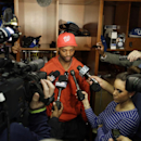 Indianapolis Colts' Reggie Wayne responds to a question in the locker room at the NFL football team's practice facility Monday, Jan. 19, 2015, in Indianapolis. The New England Patriots beat the Colts 45-7 in AFC championship game The Associated Press