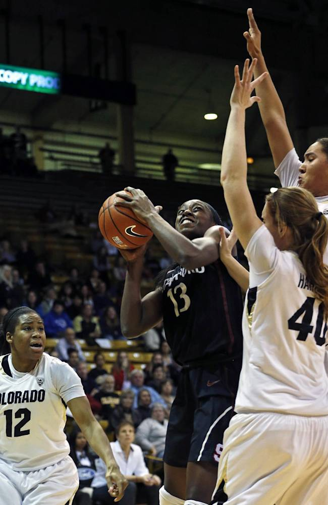 Stanford's Chiney Ogwumike shoots against Colorado during an NCAA college basketball game, in Boulder, Colo., Sunday, Jan. 12, 2014. Stanford went on to win 87-77