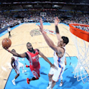 OKLAHOMA CITY, OK - NOVEMBER 16: James Harden #13 of the Houston Rockets goes up for a shot against the Oklahoma City Thunder on November 16, 2014 in Oklahoma City, Oklahoma. (Photo by Layne Murdoch/NBAE via Getty Images)
