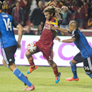 San Jose Earthquakes forward Alan Gordon (16) tries to stop Real Salt Lake midfielder Kyle Beckerman (5), during action between Real Salt Lake vs. San Jose Earthquakes, at Rio Tinto Stadium, Saturday, Oct. 11, 2014 The Associated Press