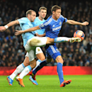 Manchester City's Pablo Zabaleta competes for the ball with Chelsea's Nemanja Matic during their English FA Cup fifth round soccer match between Manchester City and Chelsea at The Etihad Stadium, Manchester, England, Saturday, Feb. 15, 2014