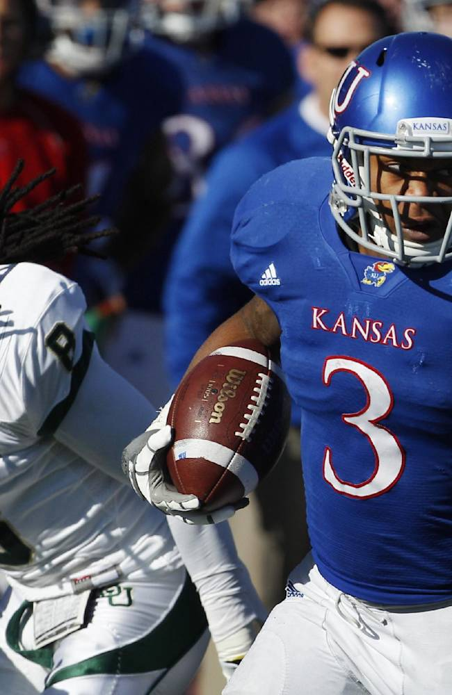 In this Nov. 12, 2011, file photo, Kansas running back Darrian Miller (3) breaks away from Baylor safety K.J. Morton (8) during the first half of an NCAA college football game in Lawrence, Kan. Dexter McDonald and Miller are grateful to have a second chance. Kicked off the Kansas football team by coach Charlie Weis, they spent last season at a junior college, and have now worked their way back into the Jayhawks' program