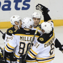Boston Bruins left wing Milan Lucic (17) celebrates with his teammates after scoring a goal in the second period of an NHL hockey game against the Nashville Predators Tuesday, Dec. 16, 2014, in Nashville, Tenn The Associated Press