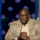 Joe Dumars, President of Basketball Operations, introduces new Detroit Piston, Brandon Jennings at a press conference on August 6, 2013 at Palace of Auburn Hills in Auburn Hills, Michigan. (Photo by Allen Einstein/NBAE via Getty Images)